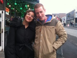 Actress Taylor Hess with Writer/Director Jeremy Hersh, from the short Actresses, on Main Street in Park City.