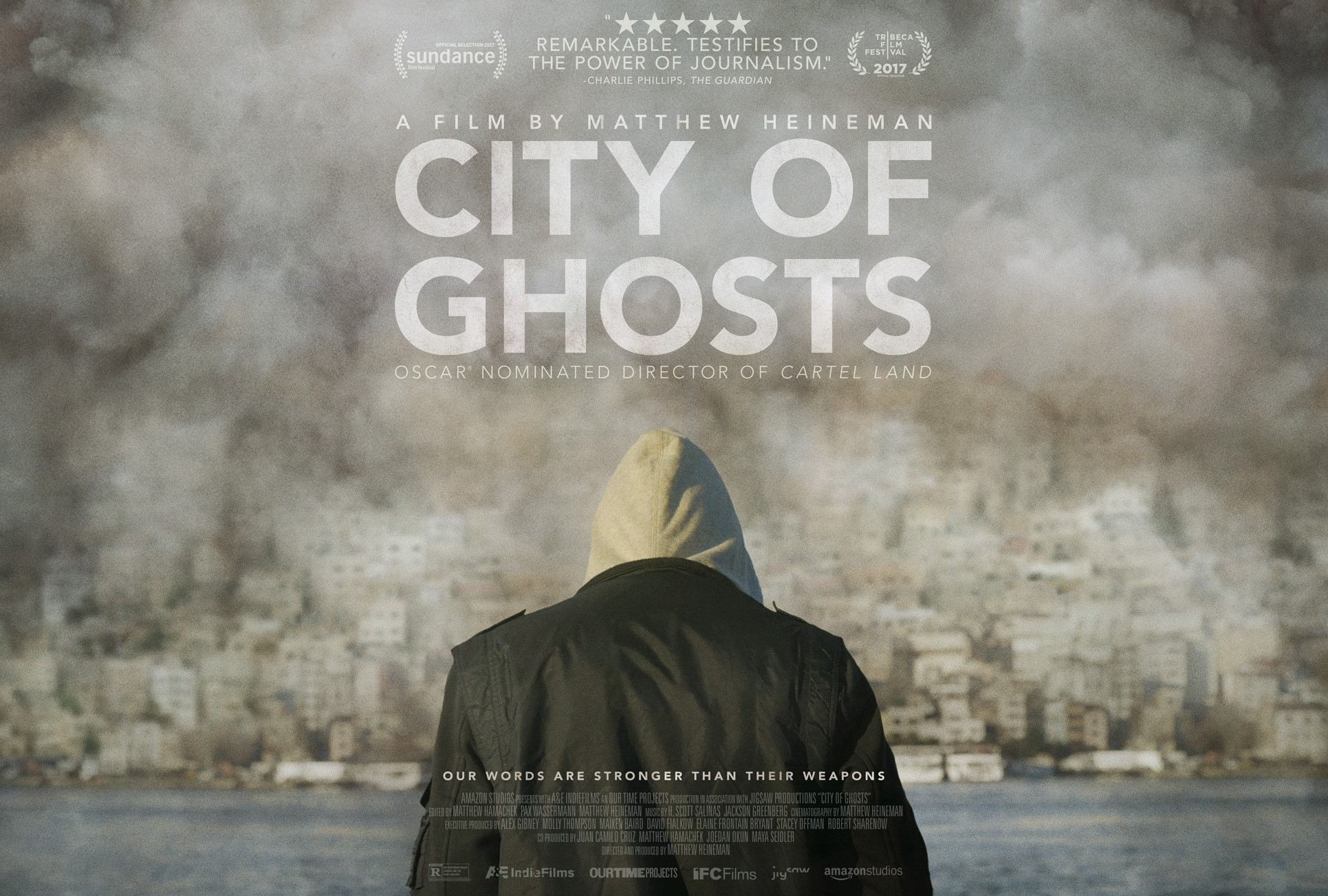 Back of a man wearing a hoodie on poster of City of Ghosts