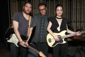 Adam Pally, Fred Armisen, and Zoe Lister-Jones at a promotional event for Band Aid.