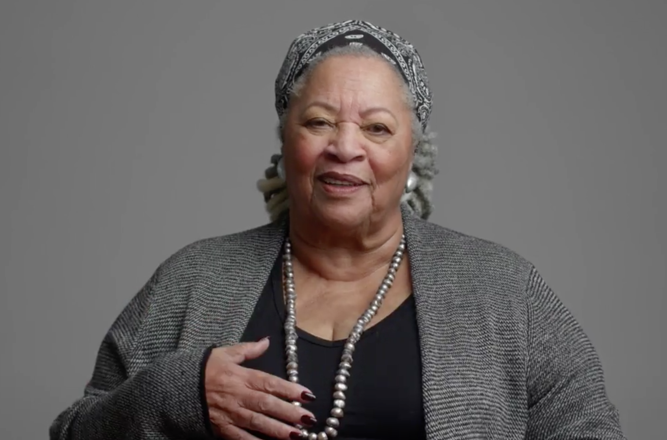 A still of Toni Morrison smiling from the documentary Toni Morrison: The Pieces I Am