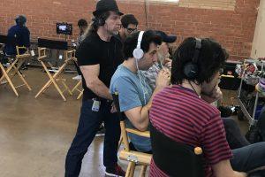 Ed Polgardy watches a take with writer/directors Alex Karpovsky and Teddy Blanks