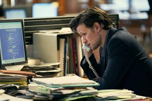 Matt Smith as Martin Bright in Official Secrets talks on the phone reporting on a story