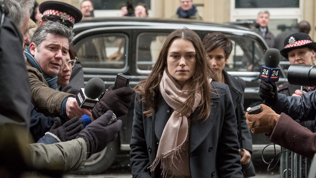 Katharine Gun (Keira Knightley) faces the press in Gavin Hood's Official Secrets