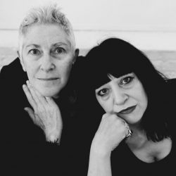 Black and white photo of Beth B, director, with Lydia Lunch today