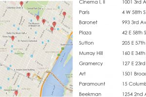 A Google Maps screenshot of Rugoff theaters of their era, in Manhattan