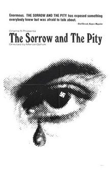 An old black and white ad for the film The Sorrow and the Pity