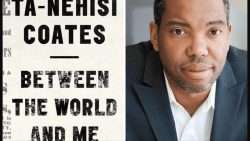 Ta-Nehisi Coates, featured in The Apollo,next to his book, Between The World And Me