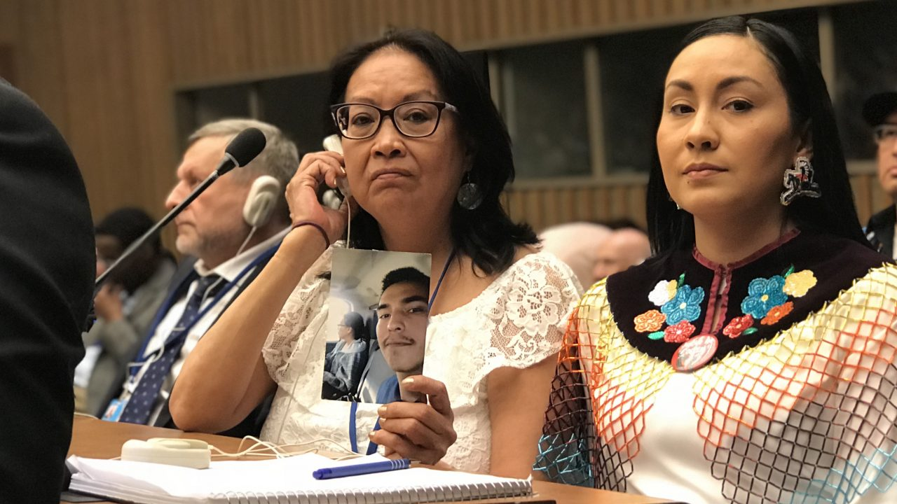 Coulton Bushie's mother and his cousin wait to speak to the U.N. about his death in nîpawistamâsowin: We Will Stand Up