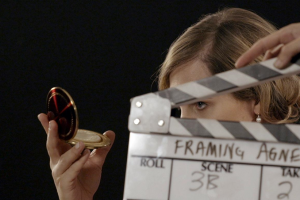 Agnes (Zackary Drucker) preparing for her interview in the documentary Framing Agnes