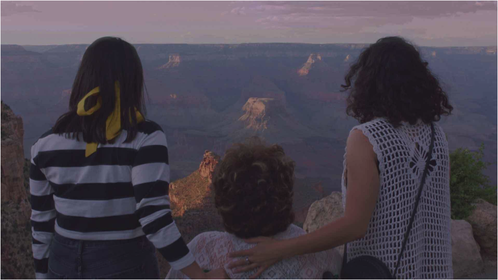 The three protagonists looking out at the Grand Canyon
