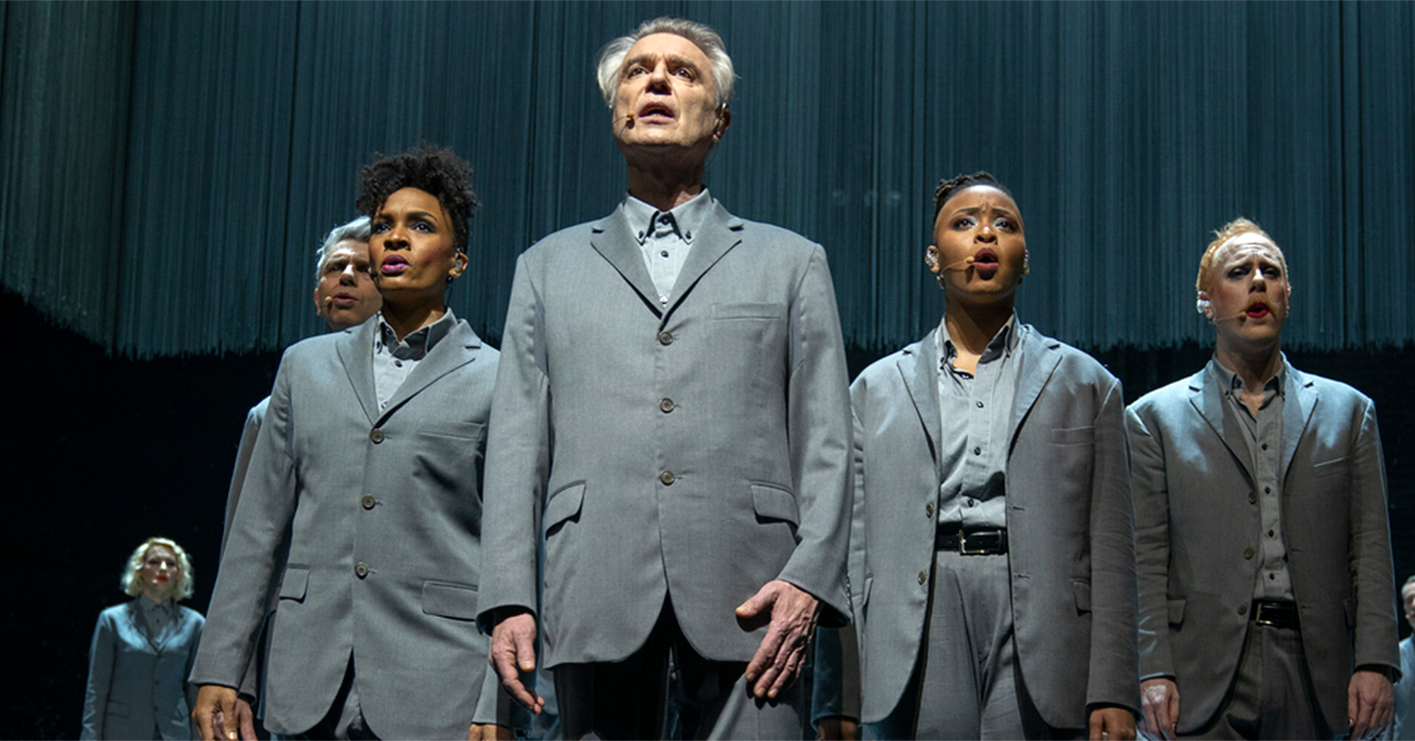 David Byrne and cast from American Utopia. Credit