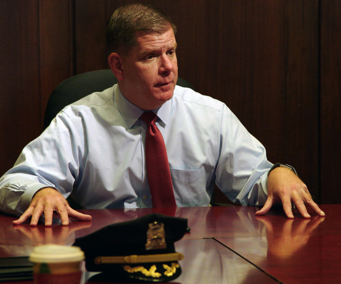 Marty Walsh, mayor of Boston, at desk