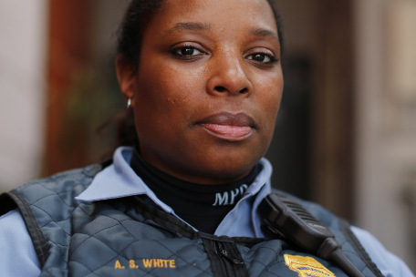 closeup of Black policewoman