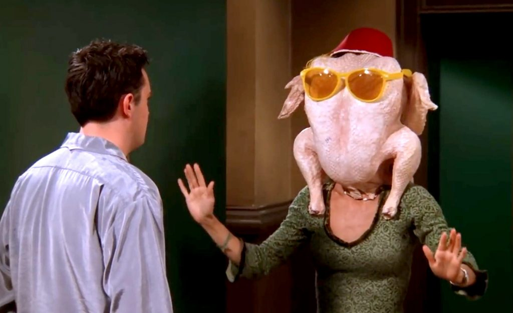 Courtney Cox with turkey on her head.