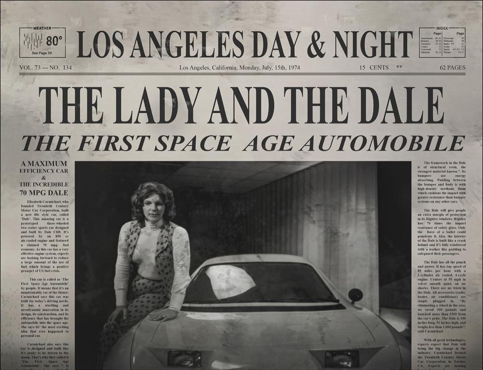Liz Carmichael and the Dale auto.
