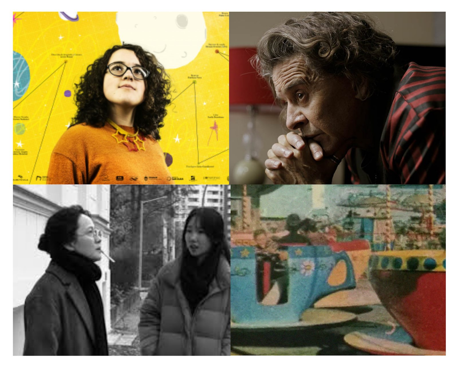Four images that correspond with the featured films of the BAFICI. On the top left is for Clarita's Universe and shows a woman with curly hair and glasses standing in front of a diagram of space. The top right image is for Bandit and shows a man thinking with his hands folded in front of his mouth. The bottom left is for Introduction and shows two women speaking to each other. The bottom right is for Teoria Social Numerica and shows people sitting in a teacup ride at an amusement park.
