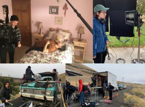 4 stills from the movie and behind the scenes: childhood bedroom, director and camera, microphone on set.