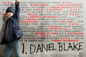 Man with raised fist in front of critical acclaim for I, Daniel Blake