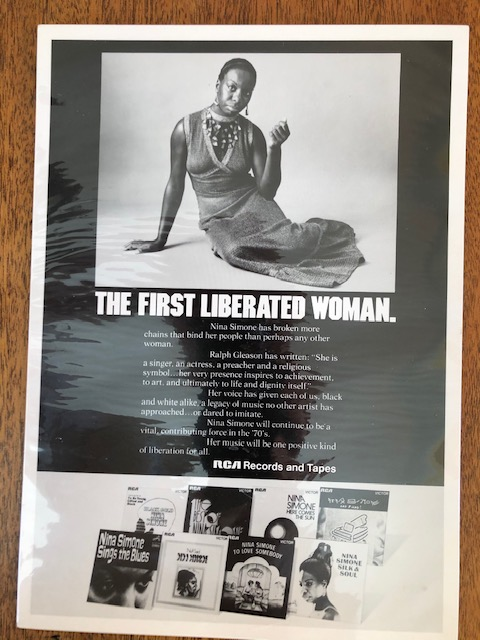 """Ad with Nina Simone and caption, """"the first liberated woman."""""""