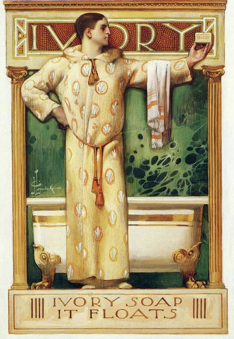 Man standing in fron of tub. Ad for Ivory soap.