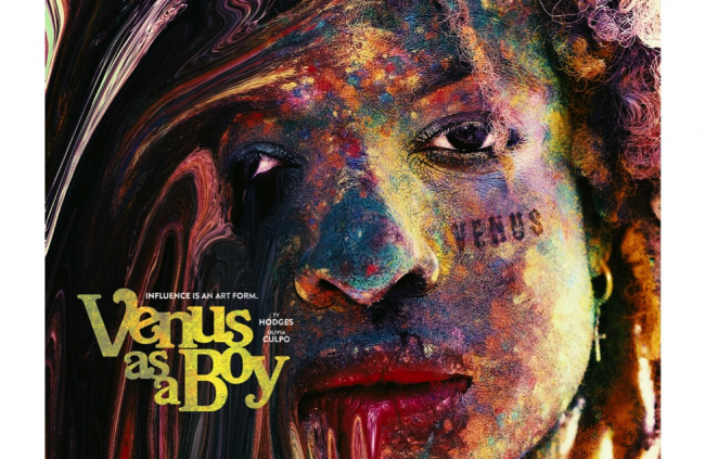 """Painted face with the text, """"Venus as a Boy"""""""