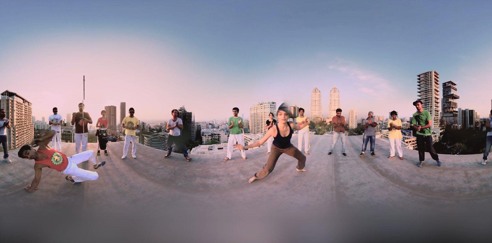 Panoramic shot of people dancing.