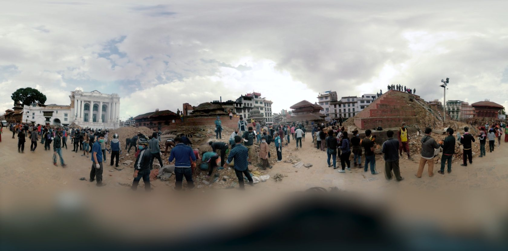 A panoramic image of people in a city from the 360-degree VR film, Vibrations.