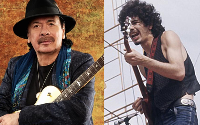 Two photos of Carlos Santana, current and from Woodstock performance
