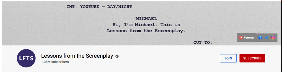Intro for Lessons from the Screenplay YouTube channel