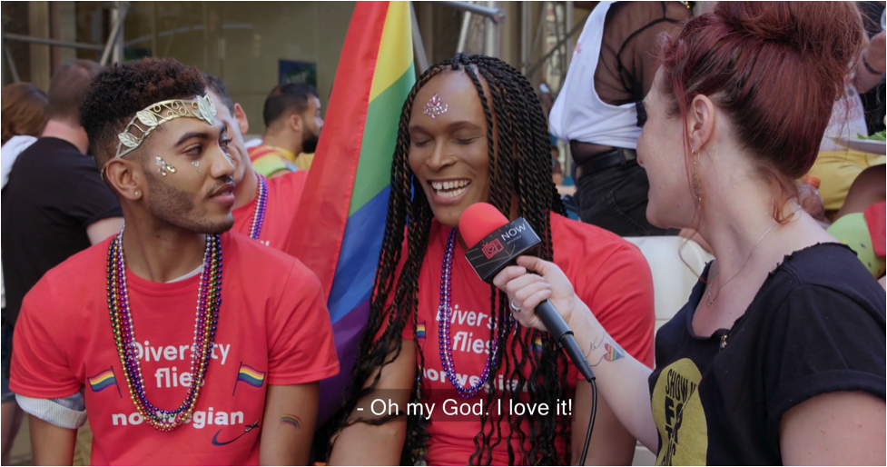 """Fiona with two marchers at Stonewall 50. Captioned """"Oh my God! I love it!"""""""