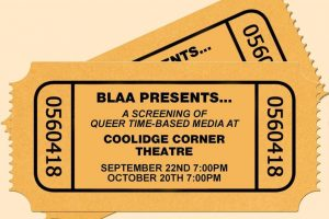 Graphic for BLAA screening at Coolidge Corner Theatre that shows tick stubs with the date information
